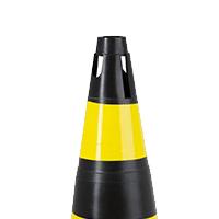 Cone Rígido 75 cm – Preto e Amarelo