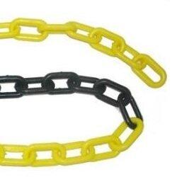Corrente Plástica para Pedestal Elo Pequeno - Preto/Amarelo - Plastcor