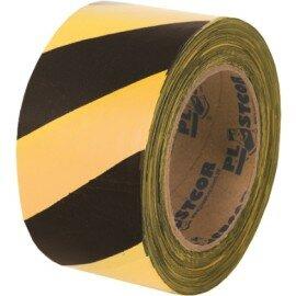 Fita para Demarcação Zebrada 100m - Preto/Amarelo - Plastcor