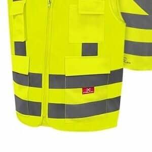 Coleto Refletivo com 4 Bolsos Amarelo Fluorescente Liso - Steelflex
