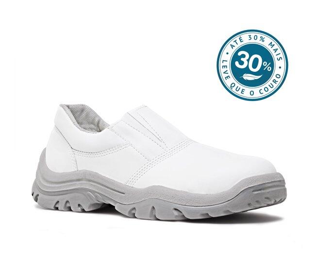 97333c08410 Sapato de Elástico Branco em Microfibra com Bico Composite Fujiwara CA 32570